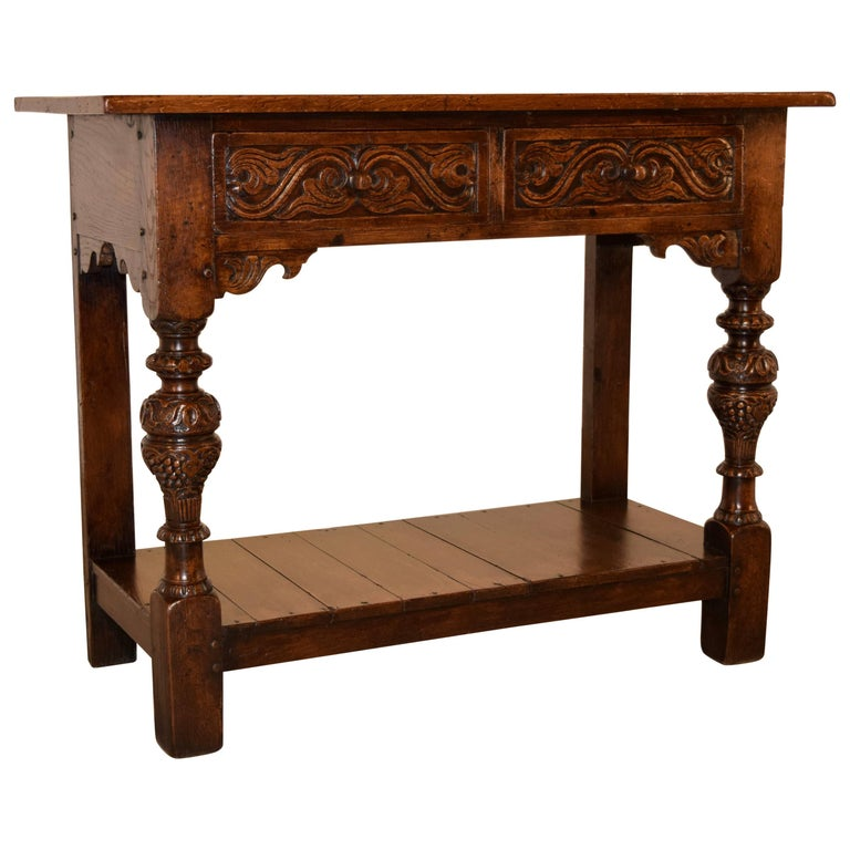 19th Century Carved Oak Console