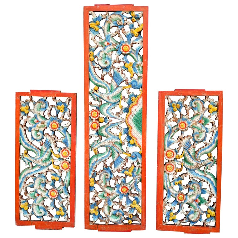 Set of Three Hand-Carved Teak Architectural Panels from Java, Mid-20th Century