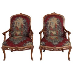 Pair of Antique Carved Walnut and Tapestry Stick Form Armchairs, 19th Century
