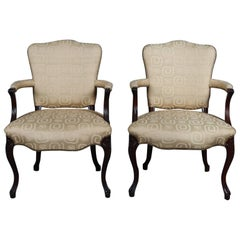 Pair of French Louis XVI Style Walnut and Upholstered Armchairs, 20th Century