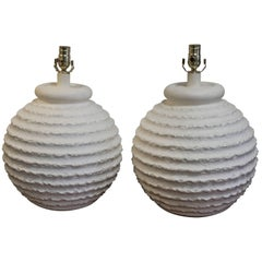 Pair of Bulbous Plaster Lamps