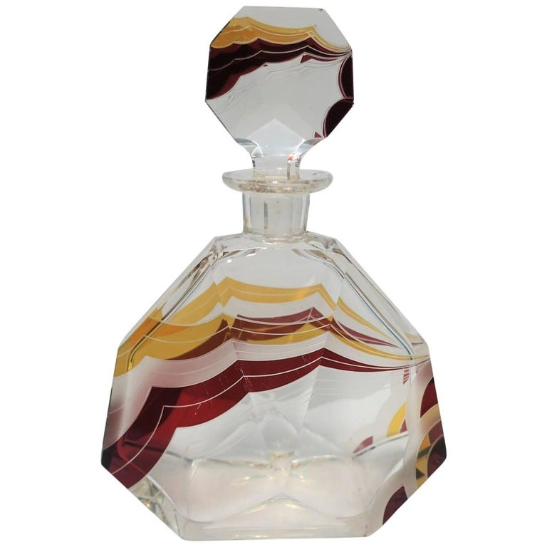 European Art Deco Liquor or Spirit Crystal Decanter by Designer Karl Palda