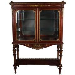 Antique French Louis XVI Style Mahogany, Gilt & Ormolu Mirrored Vitrine