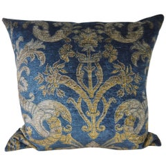 French Blue Velvet Large Pillow Printed with a Classical Design, circa 1950s