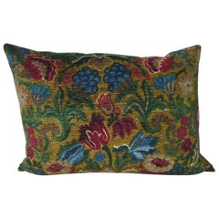 French Floral Printed Cotton Velvet Pillow, circa 1950s