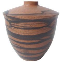 Dan Kvitka Turned Wood Vessel, Bowl or Vase in Ebony Wood, Signed Dated