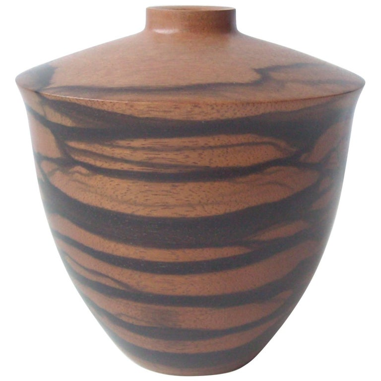 Dan Kvitka Turned Wood Vessel, Bowl or Vase in Ebony Wood, Signed Dated For Sale