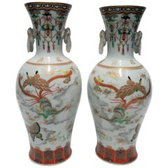 Pair of White and Black Art Deco Japanese Kutani Porcelain Vases, 20th Century