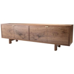 Marvin Credenza, Walnut and Brass, Four-Door, Customizable