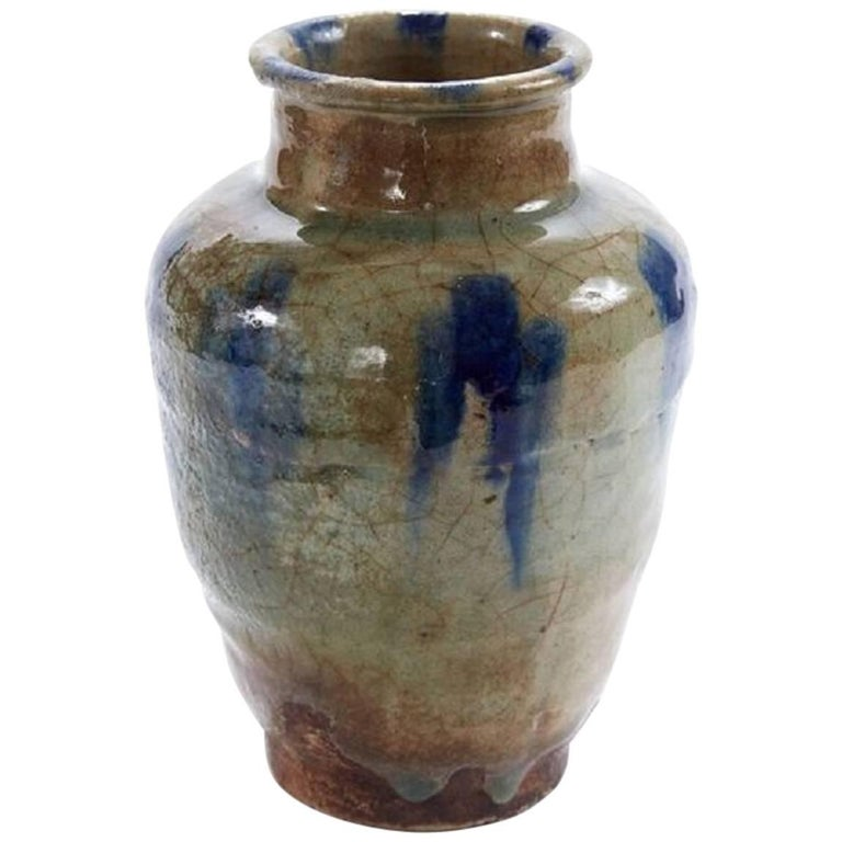 Early 19th Century Crackle Glazed Painted Persian Urn