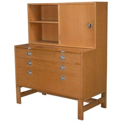 Oak Bookcase Unit and Chest with Stainless Steel Handles