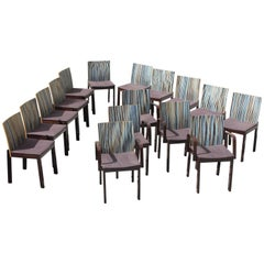 Set of 16 French Art Deco ''Stripes Vertical'' Dining Chairs, circa 1940s