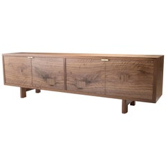 Marvin Credenza, Walnut and Brass, Four-Door, Show Sample