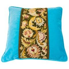 Tapestry Decorative Pillow Floral Design on Blue Velvet