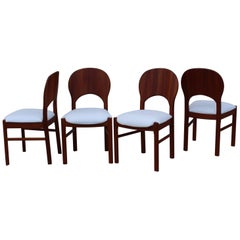 Rare Benny Linden Teak and Leather Dining Chairs