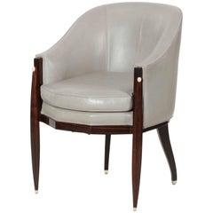 Art Deco Macassar Ebony and Leather Armchair after Emile-Jacques Ruhlmann