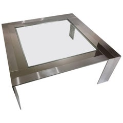 Stainless Steel and Glass Cocktail Table by Elaine Cohen for DIA