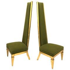 Pair of Italian High Back Slipper Chairs, 1960s