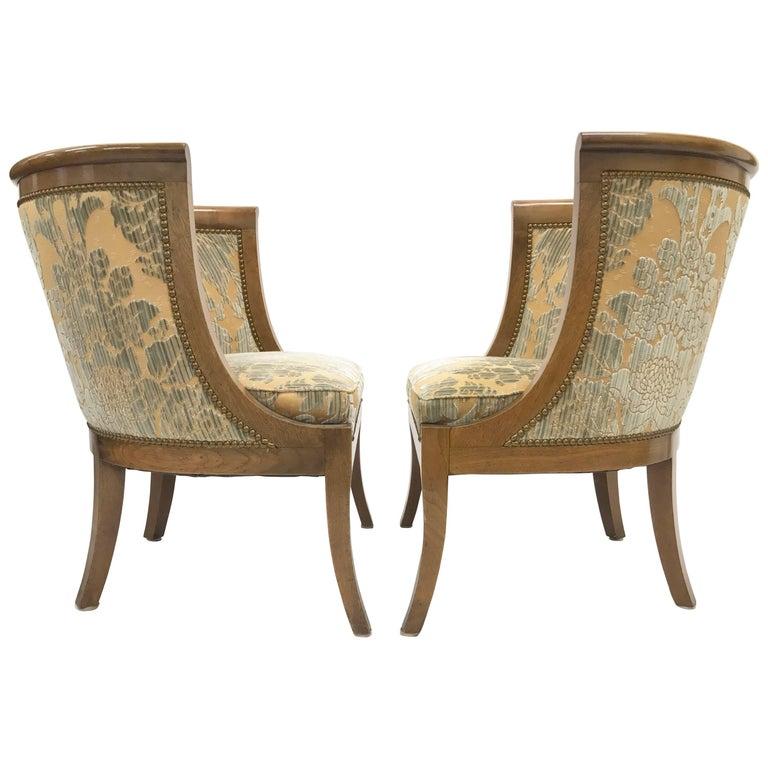Pair of Biedermeier Barrel-Back Tub Chairs