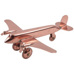 1950s Mid-Century Modernist Copper Airplane Model