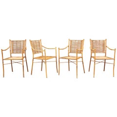 Set of Four Armchairs in Wrought Iron Imitating Bamboo