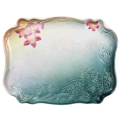Art Nouveau Plate in Earthenware with a Green and Pink Flower Decor