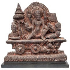 Terracotta Votive Plaque from Nepal, Early to Mid-20th Century. On Metal Base.