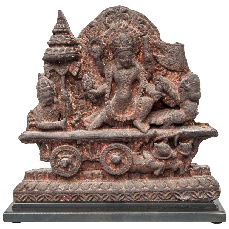 Terracotta Votive Plaque from Nepal, Early to Mid-20th Century. On Metal Base. For Sale