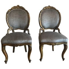 Pair of 18th Century Italian Carved Gilded Gessoed Wood Baroque Chairs