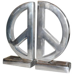 Peace and Love Set of Two Bookends in Aluminium