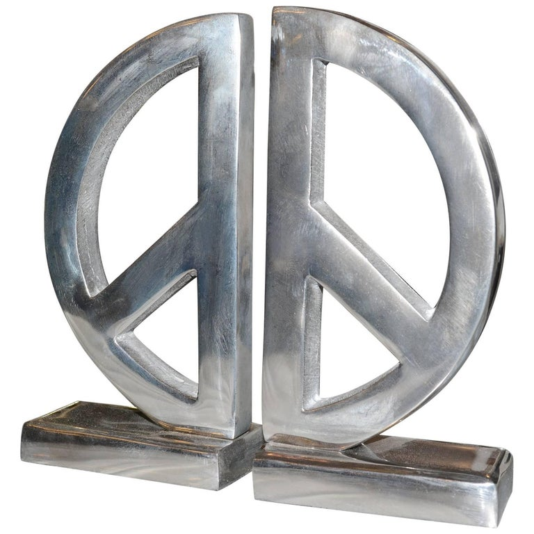 Peace and Love Set of Two Bookends in Aluminium For Sale
