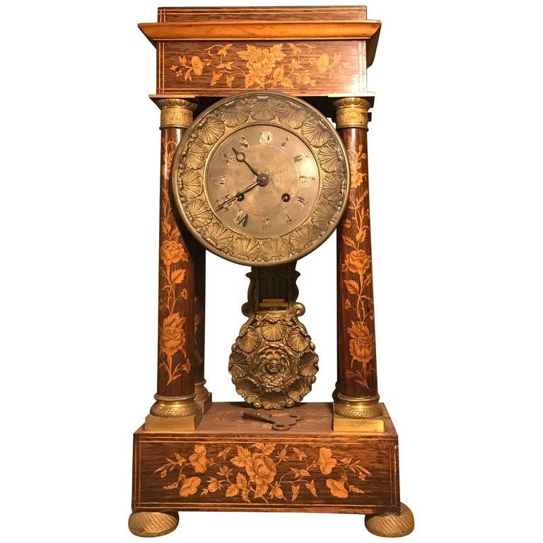 Marquetry Empire 1810 Mantelpiece Clock Original , Complete in working condition