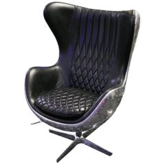 Number 5 Black Large Armchair Swivel in Riveted Aluminium and Genuine Leather
