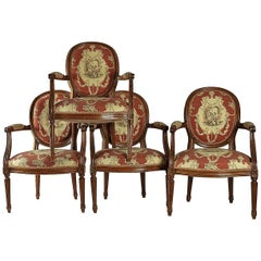 Set of Four French, 19th Century, Louis XVI Style Fruitwood Armchairs