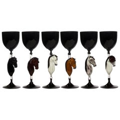 Set of Six Horse Murano Glasses