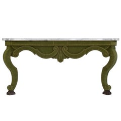 Augustus Console Table in Green Velvet and Limestone Top