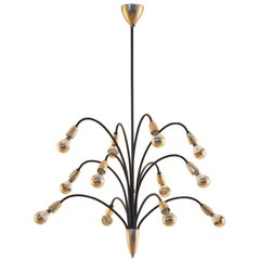 Midcentury Design, Italian Twelve Black Bent Arms and Brass Chandelier Lamp