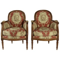 Pair of French 19th Century, Louis XVI Style Fruitwood Bergeres