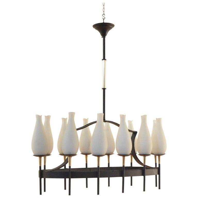 Midcentury Italian Oval Shaped 12 Oblong Opaline Glass & Brass Chandelier Lamp
