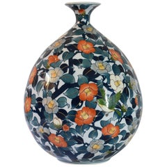 Japanese Ovoid Hand-Painted Porcelain Vase by Master Artist