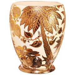 Palmers White and Gilded Vase Emaux de Longwy Limited Edition