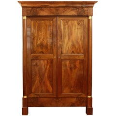 Large Empire Walnut Wardrobe or Armoire, circa 1810