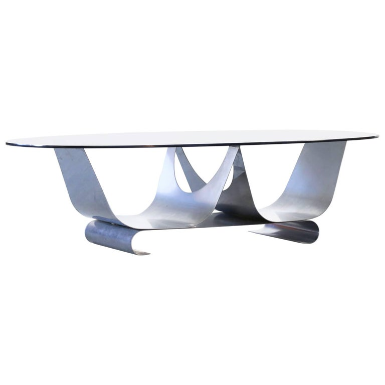 Coffee Table Francois Monnet for Kappa, 1970 Oval Glass and Steel For Sale
