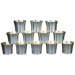 Very Nice Set of 12 Swedish Silver Vodka Cups by Torndahls, 1951