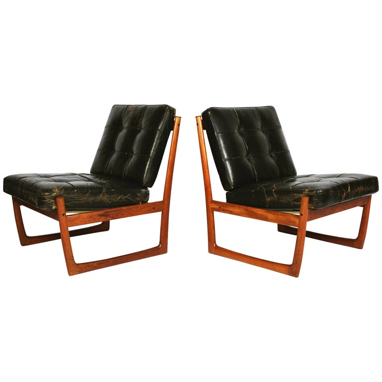 Pair of Danish Teak Lounge Chairs Model FD130 by Peter Hvidt and Orla Mølgaard