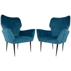 Pair of Italian Curved Armchairs, 1950s