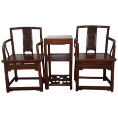 Set of Chinese Rosewood Official's Chairs and Table Qing Dynasty, circa 1900