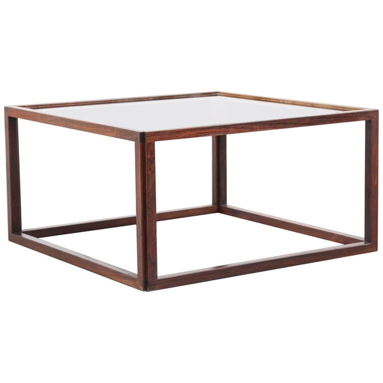 Scandinavian Coffee Table Rosewood and Glass