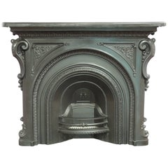 Irish 19th Century Victorian Arched Cast Iron Fireplace Surround