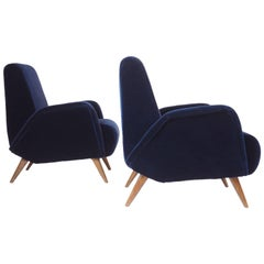 Pair of Blue Velvet Armchairs Manufactured by DASSI, Milano 1950s